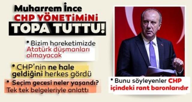 Muharrem İnce'den CHP'bombardiman 4 milyon oyumu çaldılar başkan olmamı engellediler
