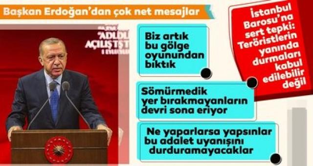 Son dakika! Başkan Erdoğan'dan İstanbul Barosu'na sert tepki: Teröristlerin yanında durmaları kabul edilebilir değil