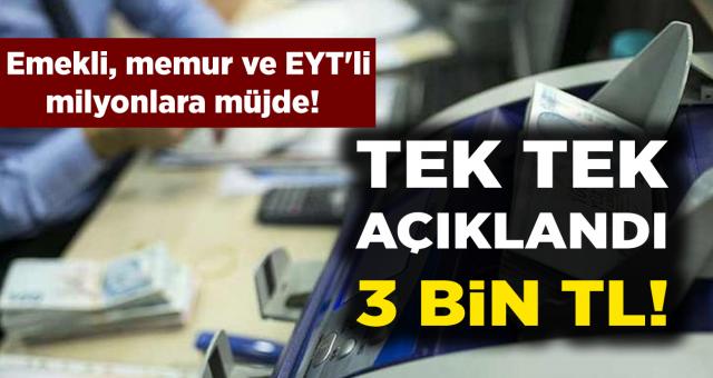 SGK, SSK, Bağkur'lu Emekli, İşçi, Memur, EYT'li Herkese Müjde! Tek Tek Açıklandı 3 Bin TL…