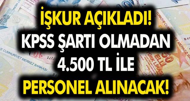 İŞKUR açıkladı: KPSS şartı olmadan 4.500 TL ile personel alınacak!