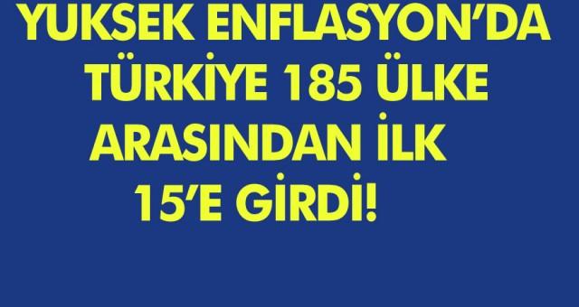 Yüksek Enflasyonda Türkiye, 185 Ülke Arasından İlk 15'e Girdi!