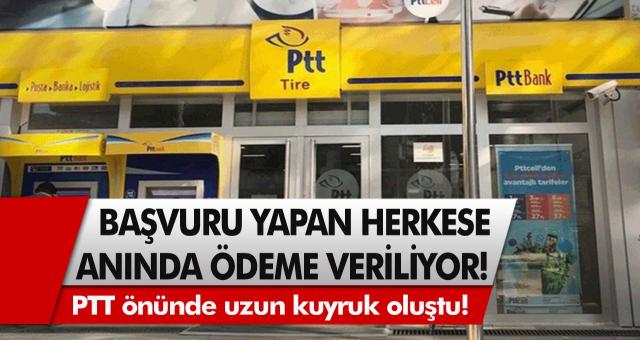 PTT önünde uzun kuyruk oluştu! Başvuru yapan herkese anında ödeme veriliyor…