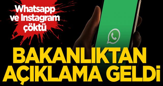 Bakanlıktan Whatsapp ve Instagram açıklaması