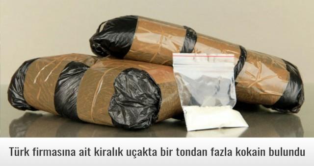 Türk firmasına ait kiralık uçakta bir tondan fazla kokain bulundu