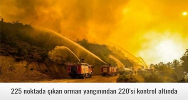 225 noktada çıkan orman yangınından 220'si kontrol altında