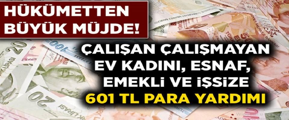 Hükümetten Çalışan Çalışmayan Herkese, Büyük Müjde! Ev Kadını, Esnaf, Emekli Ve İşsizlere 601 TL Para Yardımı Yapılacak!