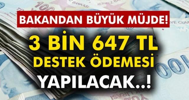 Bakandan müjde 3 Bin 647 TL Destek Ödemesi Yatırılacak! Hesaplarınızı Kontrol Edin..!
